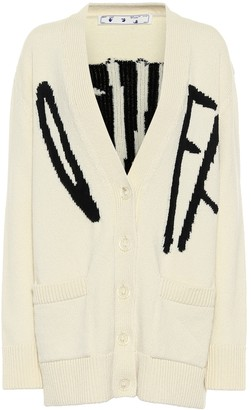 Off-White Logo intarsia wool-blend cardigan
