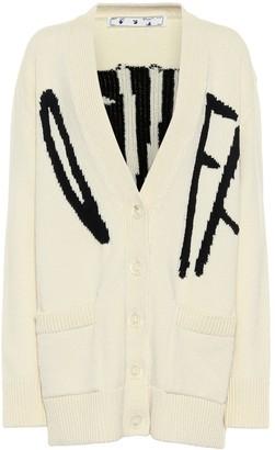 Off-White Logo intarsia wool-blend cardigan