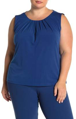 Calvin Klein Sleeveless Pleated Neck Camisole (Plus Size)