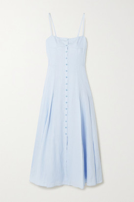 Gabriela Hearst Prudence Linen Midi Dress - Light blue