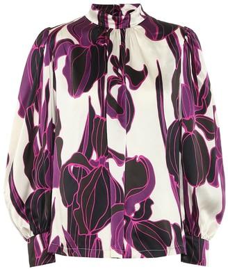 Dries Van Noten Floral silk satin blouse