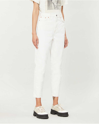 Topshop Straight high-rise cotton-twill jeans