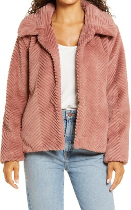 Halogen Chevron Faux Fur Coat