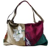 GESIMEI Women's Canvas Patchwork Flower Painted Top-Handle Hobo Bag