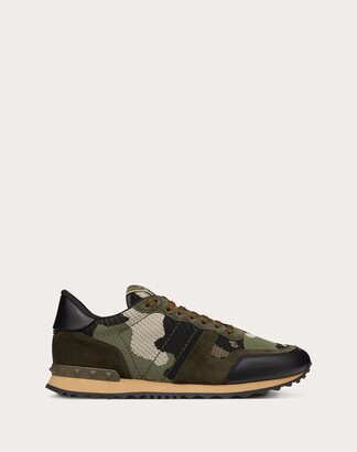 Valentino Mesh Fabric Camouflage Rockrunner Sneaker Man Military Green Polyester 100% 41.5