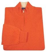 Salinas Principe di Salina Orange Cashmere Zip Mock Turtleneck Sweater