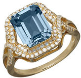 Lord & Taylor 14K Yellow Gold Blue Topaz and Diamond Ring