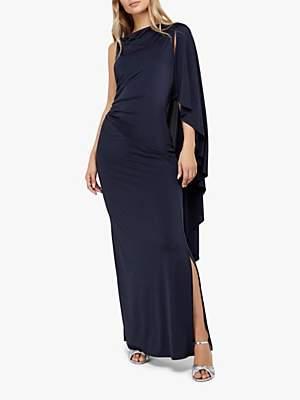 Monsoon Ophelia One Shoulder Cape Maxi Dress, Navy