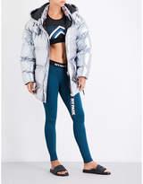 Ivy Park Ladies Gunmetal Exposed Zip Metallic Puffer Jacket
