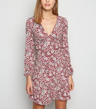 New Look Floral Long Sleeve Mini Dress