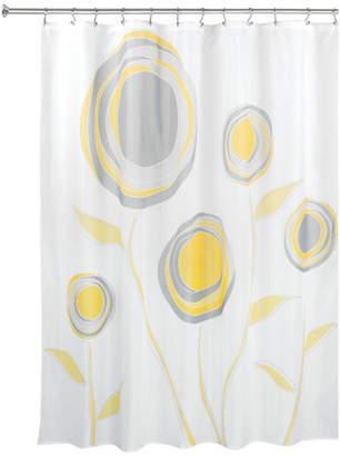 "Idesign iDesign Marigold Fabric Shower Curtain, 72""x72"", Yellow and Gray"
