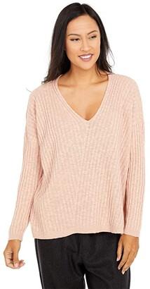 Eileen Fisher Organic Cotton Linen Slub Deep V-Neck Tunic (Blush) Women's Clothing