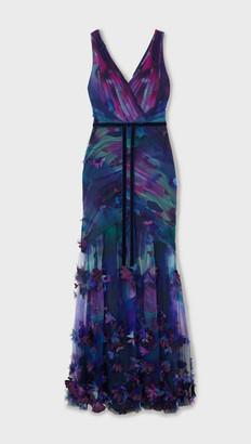 Marchesa Notte Velvet-trimmed Appliqued Floral-print Tulle Gown - Navy