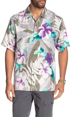 Tommy Bahama Hibiscus Hues Tropical Floral Print Silk Hawaiian Shirt