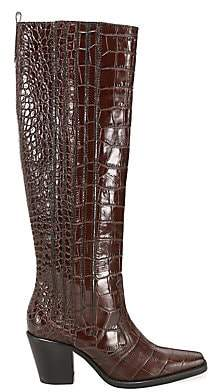 Ganni Women's Western Knee-High Croc-Embossed Leather Boots