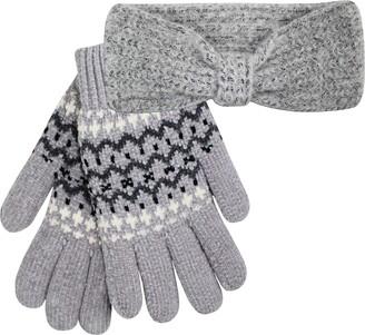 Teddyts Women's Grey Thermal Knitted Chunky Headband & Fairisle Chenille Gloves Set