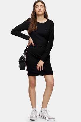 Tommy Hilfiger Womens Black Tape Detail Bodycon Dress By Tommy Jeans - Black