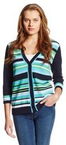 Jones New York Women's Three Quarter Sleeve Crew Neck Cardigan