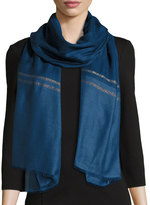 Neiman Marcus Wool-Blend Wrap Scarf w/ Shimmered Stripes, Navy/Gold