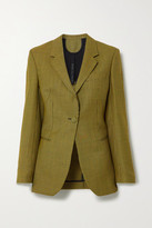 Petar Petrov Jaffa Houndstooth Wool And Mohair-blend Blazer - Yellow