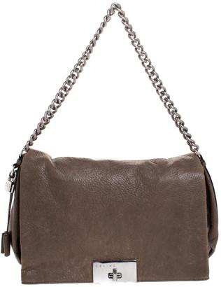 Celine Dark Beige Wrinkled Leather Flap Shoulder Bag