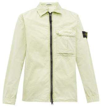 Stone Island Logo Patch Zip Through Crinkle Cotton Jacket - Mens - Light Green