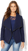 New York & Co. Faux-Leather Trim Flyaway Coat