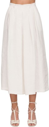 Ralph Lauren Collection Crop Linen Wide Pants Skirt