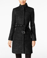 Vince Camuto Faux-Leather-Trim Textured Walker Coat