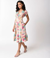 Emily And Fin 1930s Style Pretty In Pink Cap Sleeve Flora Swing Dress