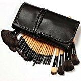 KLAREN Professional 24 Piece All Natural Real Hair Makeup Brush Set - Handle Pcs Cosmetic Beauty Brushes Kit - Make Up Leather Organizer Case / Bag