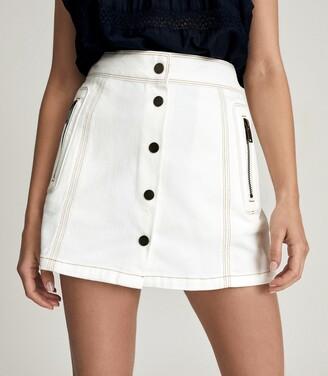 Reiss Hailey - Denim Mini Skirt in White