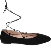 Yours Clothing Black Lace Up Ballerina Pump In E Fit