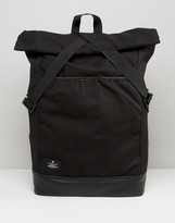 Asos Backpack With Canvas Roll Top And Tape Fastening