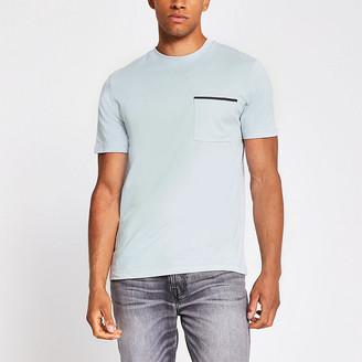 River Island Grey slim fit short sleeve pocket T-shirt
