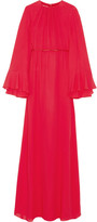 Giambattista Valli Cape-back Silk-georgette Gown - Red