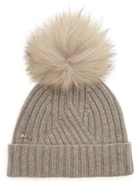 Woolrich Detachable fur-pompom ribbed-knit beanie hat