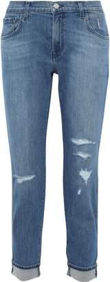 J Brand Johnny Cropped Distressed Boyfriend Jeans