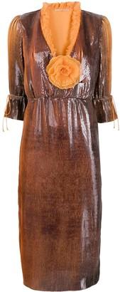 Marco De Vincenzo embellished two-tone midi dress