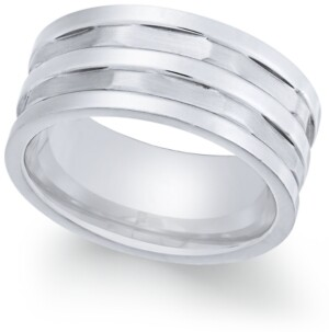 Sutton by Rhona Sutton Men's Stainless Steel Multi-Row Cut Band