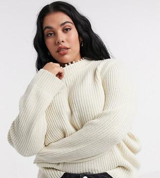 Vero Moda Curve sweater with roll neck and pearl trim in cream
