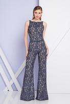 Terani Couture 1721E4131 Sleeveless Floral Bateau Neck Jumpsuit