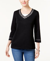 Karen Scott Embellished Layered-Look Top, Only at Macy's
