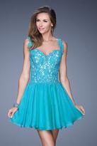 La Femme 20672 Floral Applique A-Line Dress