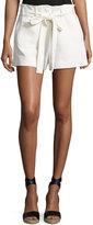 Helmut Lang Patch-Pocket Belted Shorts, Ivory