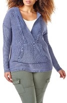 Plus Size Women's Addition Elle Love And Legend Acid Wash Hoodie Sweater