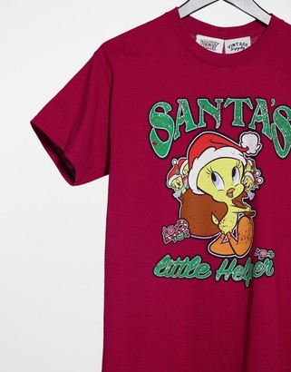 Vintage Supply oversized T-shirt with Christmas tweety pie print