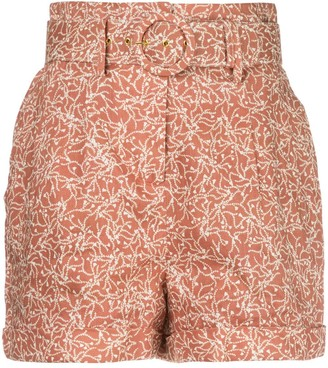 Nicholas Floral Print Belted Shorts