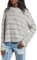 Moon River Women's Textured Stripe Crop Sweater