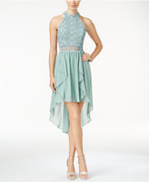 City Studios Juniors' Lace High-Low Dress